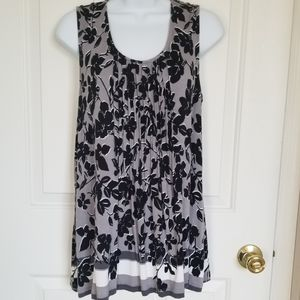 Gray and Black Floral Tank Top